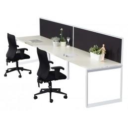 Single Sided With Screens Work Station With Loop Leg 1500x700