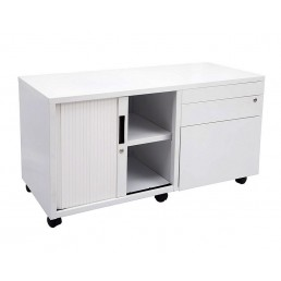 Mobile Caddy Lockable Steel Storage White
