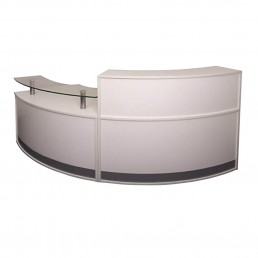 Modular Office Reception Counter Modern 2 Piece Unit White