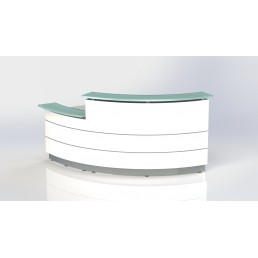 Polaris Curved Reception Counter White 920mm Lower Height 835mm