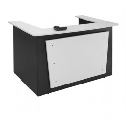 Oxley Office Reception Counter White/Ironstone Beech/Ironstone