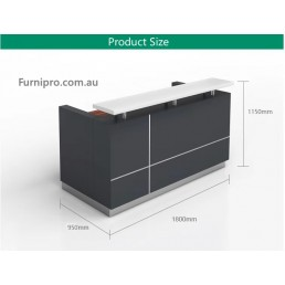 Hugo Office Reception Counter Metallic Grey W1800mm