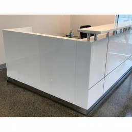 Hugo Office Reception Counter High Gloss White W1800mm