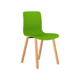 Acti Plastic Side Chairs - 4 Leg Wooden Base