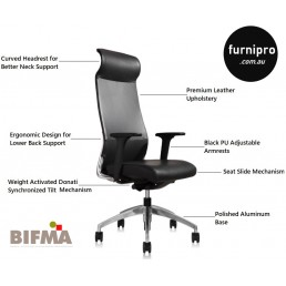 NEW Burton Slim High Back Executive Office Leather Chair