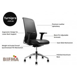 NEW Burton Slim Medium Back Executive Office Leather Chair