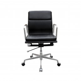 Manta Executive Medium Back Chair - Black Leather/Black PU
