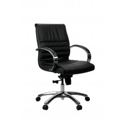 Franklin Executive Chair - Black Leather Mid/High Back