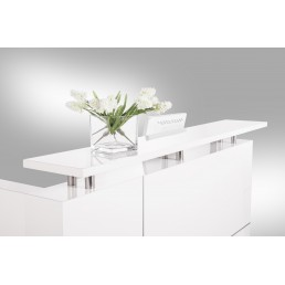 Hugo Office Reception Counter High Gloss White W1500mm