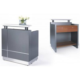 Receptionist Office Reception Counter Metallic Grey