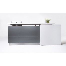 Stylish Office Reception Counter Desk Calvin 2500mm W White vs Grey