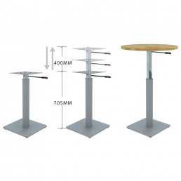 Round Meeting Table Adjustable Height Metal Round Base & Beech Top D1200mm