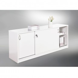 Sliding Door Buffet Lockable Office Storage Cabinet Gloss White W1800mm