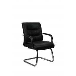 Perry Executive Cantilever Visitor Chair Black Leather