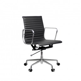 Eames Executive Medium Back Chair Black Leather