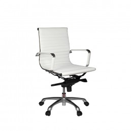 Eames Executive Medium Back Chair White PU