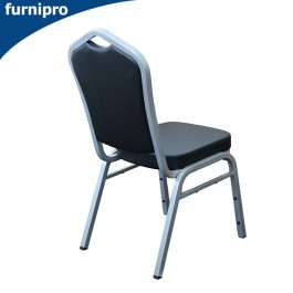 Vinyl Hospitality Stackable Function Chair - Silver