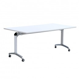 Mobile Folding Flip Top Table with Metal Frame Heavy Duty