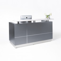 Hugo Office Reception Counter Metallic Grey W2200mm