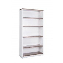OM Premier Office Open Bookcase Walnut & White H1800mm