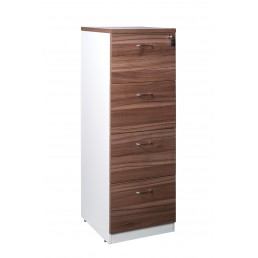 OM Premier 4 Drawer Filing Cabinet Walnut & White