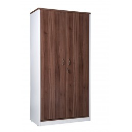 OM Premier Office Full Door Stationery Cupboard Walnut & White H1800mm