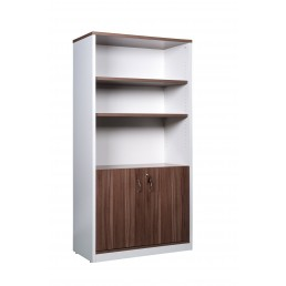 OM Premier Office Half Door Cabinet Marino Walnut & White H1800mm