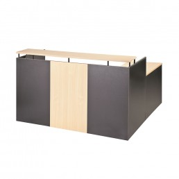 Simple OM Office Reception Counter Beech / Charcoal W1800MM