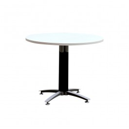 Office Round Meeting Table with Metal Cross Base (Black Mesh Cover) & White Top 900mm