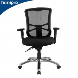 Ultimo Mid Back Mesh Office Chair with Arms Black