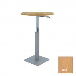 Round Meeting Table Adjustable Height Metal Square Base & Beech Top D900mm