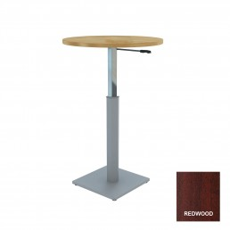Round Meeting Table Adjustable Height Metal Square Base & Red Wood Top D1200mm