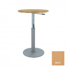 Round Meeting Table Adjustable Height Metal Round Base & Beech Top D900mm