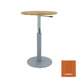 Round Meeting Table Adjustable Height Metal Round Base & Cherry Top D900mm