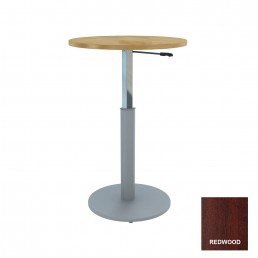 Round Meeting Table Adjustable Height Metal Round Base & Red Wood Top D900mm