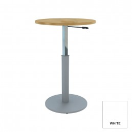Round Meeting Table Adjustable Height Metal Round Base & White Top D1200mm