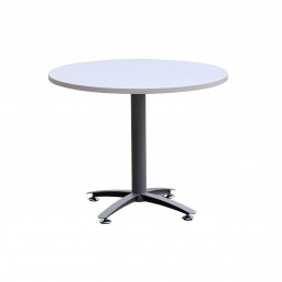 Round Meeting Table with Metal Cross Base Sliver Grey