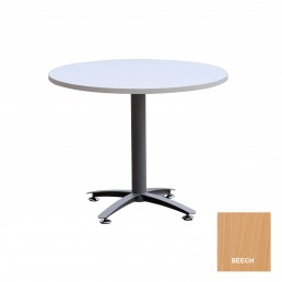 Round Meeting Table with Metal Cross Base & Beech Top 1200mm