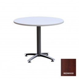 Round Meeting Table with Metal Cross Base & Red Wood Top 1200mm