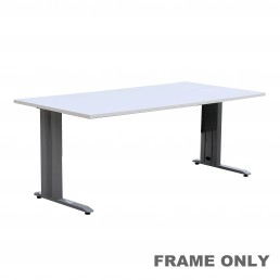 Frame Only - Office Desk Rectangular Metal Silver Grey