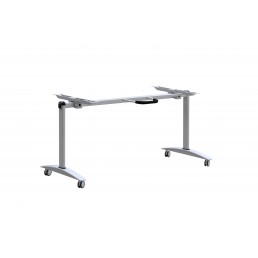 Mobile Folding Flip Top Table with Metal Frame Silver Grey