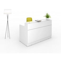 Classic Modern Office Reception Counter All White 1800mm
