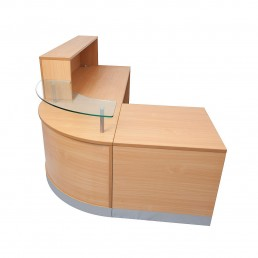 Modern Flow Reception Counter Beech 3 Piece Unit W2400mm