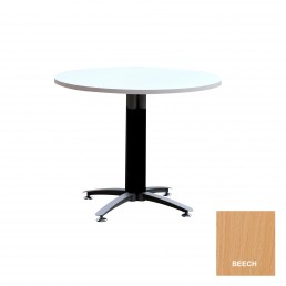 Round Meeting Table with Metal Cross Base (Black Mesh Cover) & Beech Top 900mm