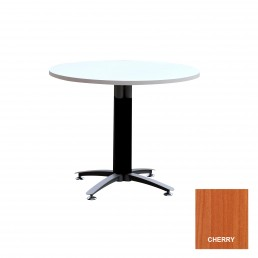 Round Meeting Table with Metal Cross Base (Black Mesh Cover) & Cherry Top 900mm