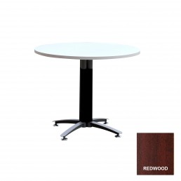 Round Meeting Table with Metal Cross Base (Black Mesh Cover) & Red Wood Top 900mm